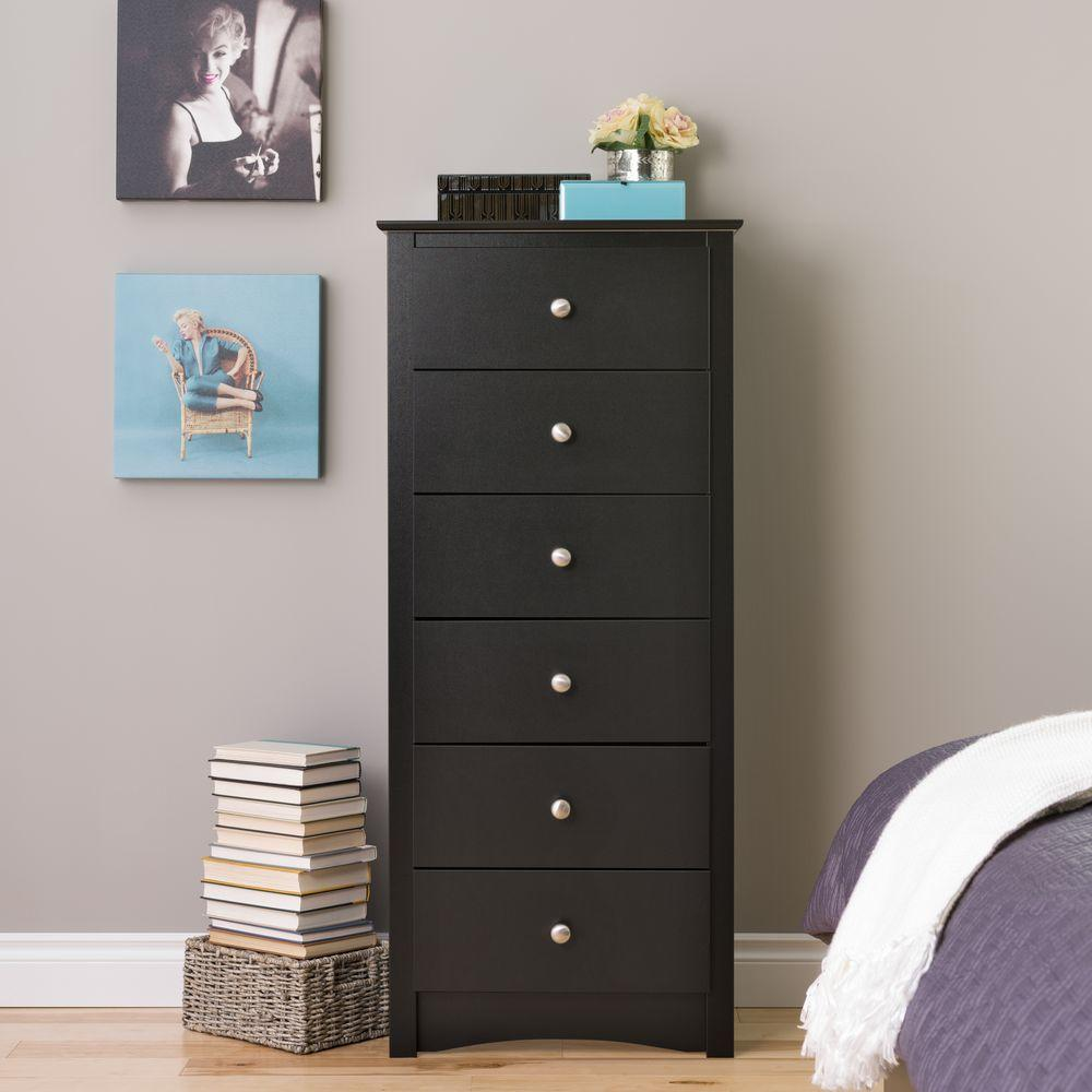 Prepac Sonoma 6 Drawer Black Chest