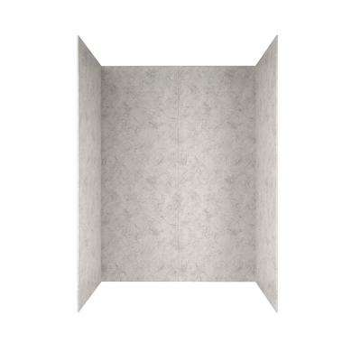 Passage 32 in. x 60 in. 4-Piece Glue-Up Alcove Bath Wall in Platinum Marble