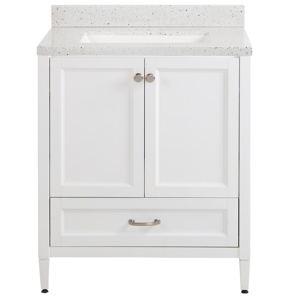 Home Decorators Collection Claxby 31 in. W x 22 in. D Bathroom Vanity in White with Solid Surface Vanity Top in Silver Ash with White Sink