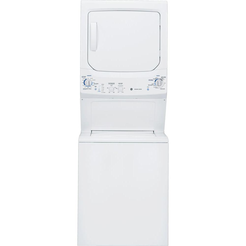 GE Unitized Spacemaker 3.3 cu. ft. Washer and 5.9 cu. ft. Gas Dryer in White