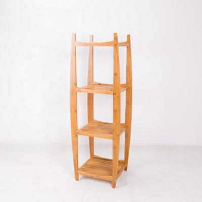 43.4 in. Natural Wood 4-shelf Accent Bookcase with Open Back