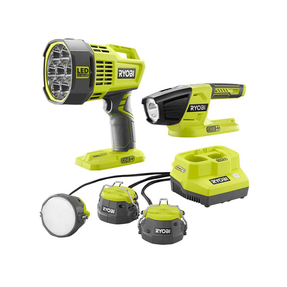 RYOBI 18-Volt ONE+ Lithium-Ion Cordless 3-Tool Lighting Kit with Cable Lights, Spotlight, and LED Light (Tools Only)