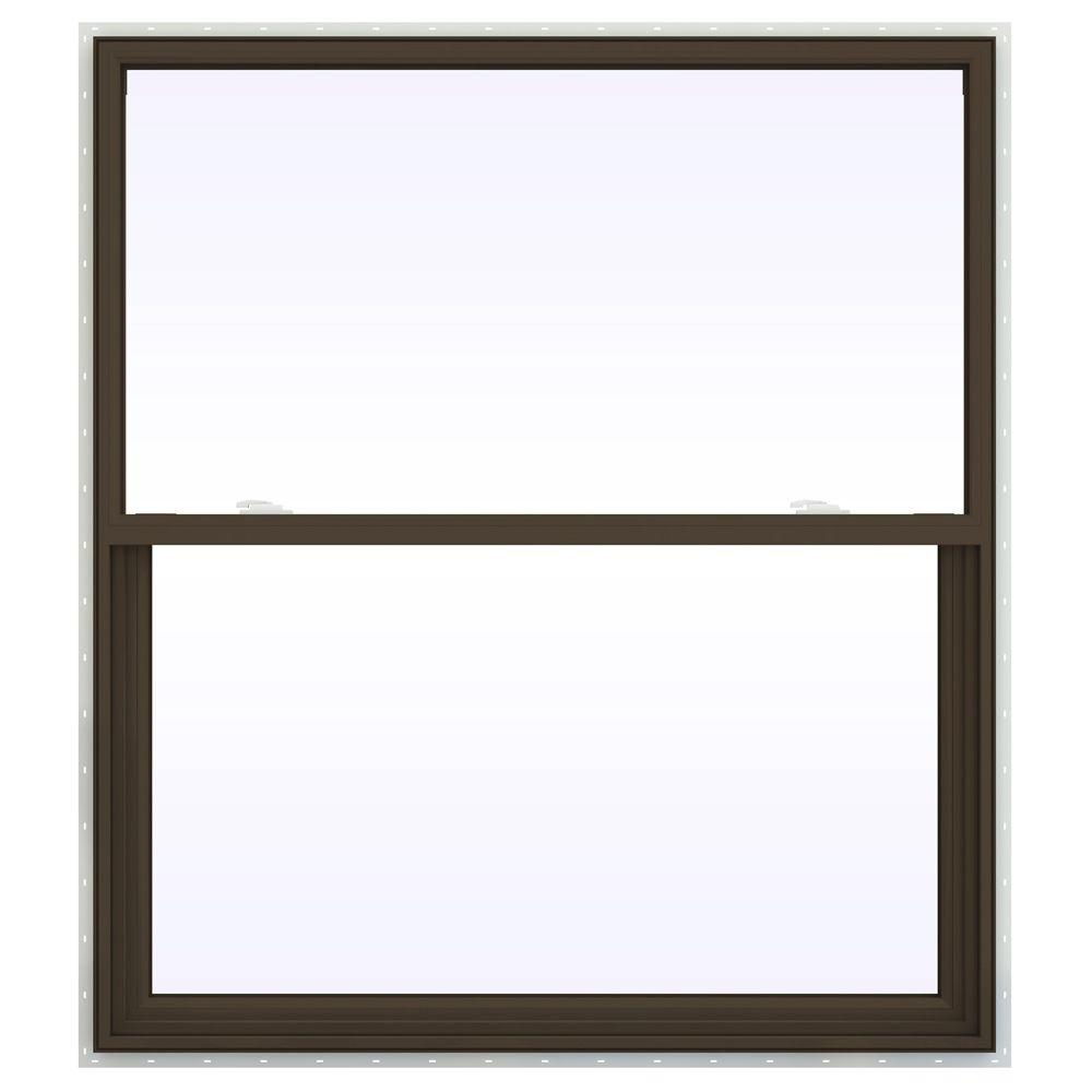 JELD-WEN 47.5 in. x 41.5 in. V-2500 Series Single Hung Vinyl Window - Brown