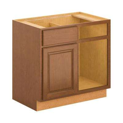 Madison Assembled 36x34.5x24 in. Blind Corner Base Cabinet in Cognac
