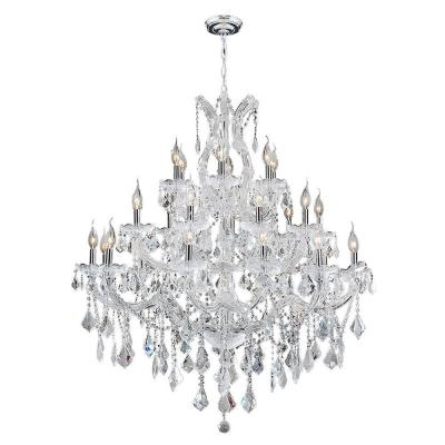 Maria Theresa 28-Light Chrome with Double Cut Clear Crystal Chandelier