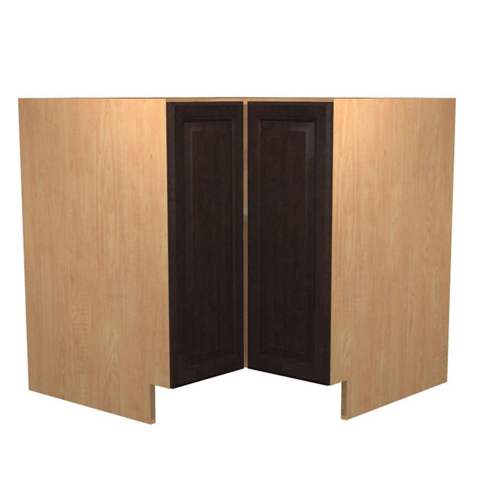 Ancona Ready To Emble 36 X 34 5 24 In Easy Reach Base Corner Cabinet With 2 Doors Mocha