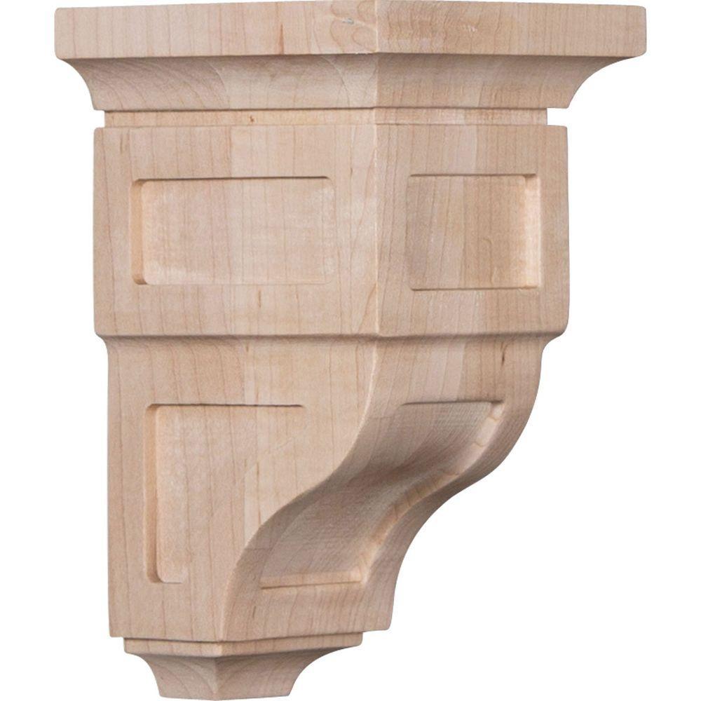 3-1/2 in. x 6 in. x 3-3/4 in. Rubberwood Mini Reyes Wood Corbel