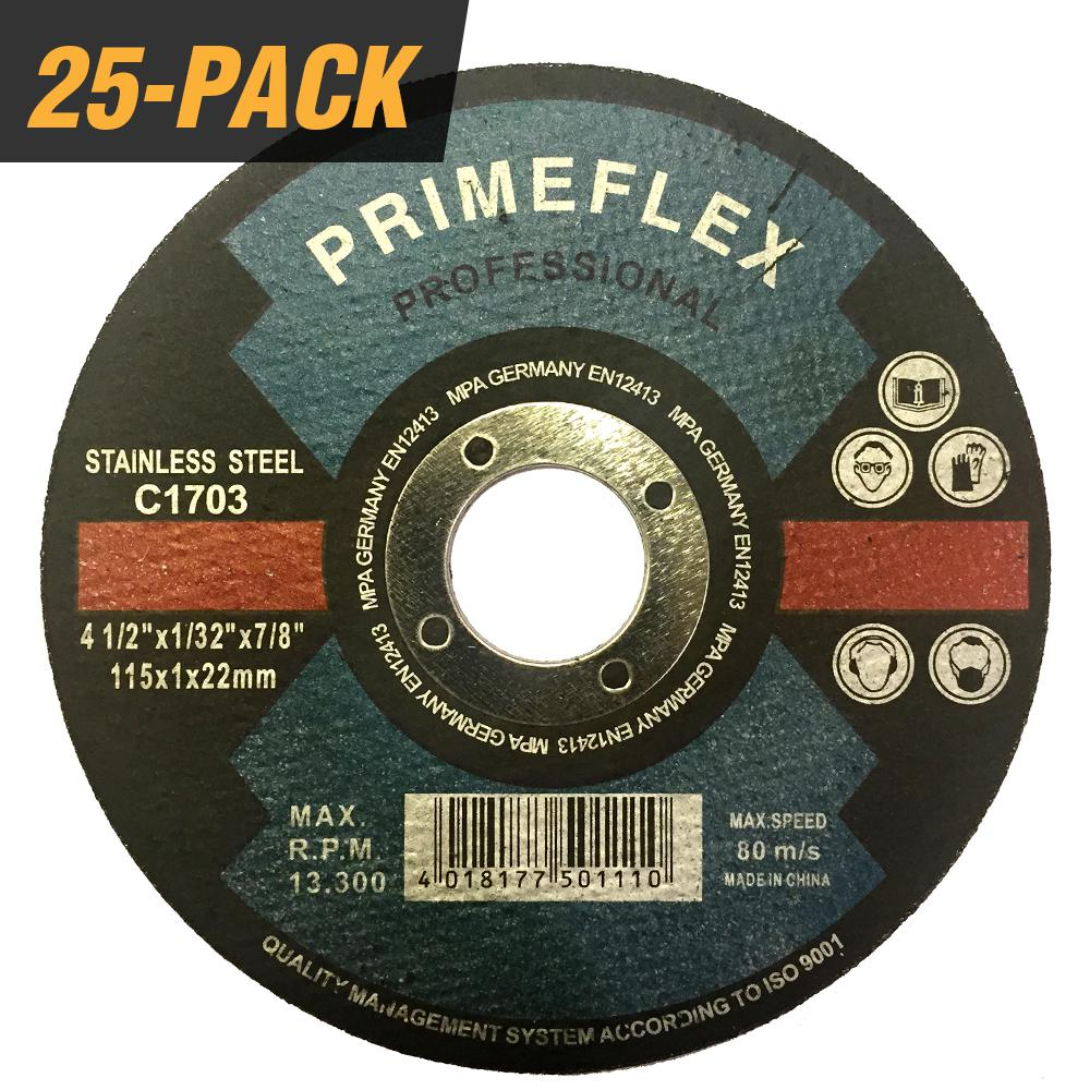 For Angle Grinders 25 Pack 4-1//2 x 1//16 x 7//8 Metal and Stainless Steel Cut Off Wheels