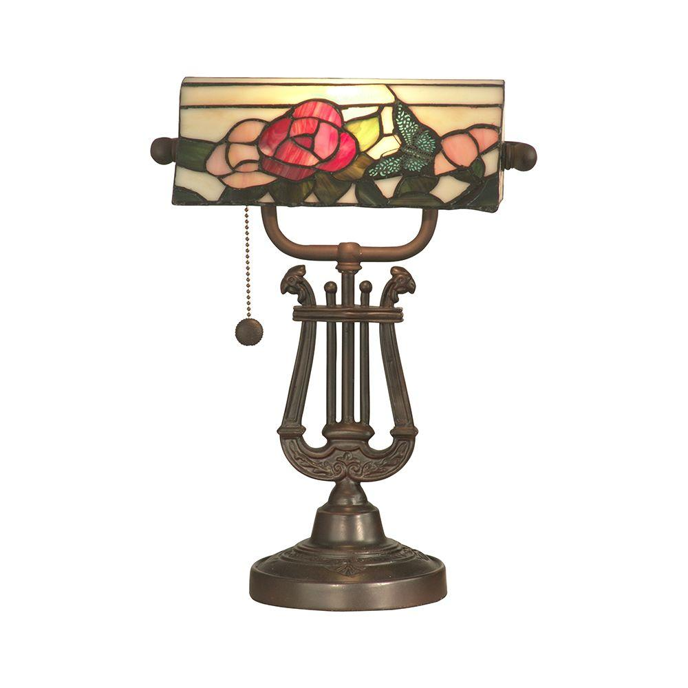 Dale Tiffany 14.5 in. Broadview Bank Antique Bronze Accent Lamp