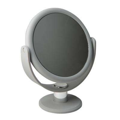 Dual Sided 10X Magnification 7 in. Rubberized Vanity Mirror in Grey