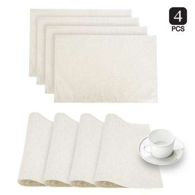 Little Rock White Glimmer Fabric Placemat (Set of 4)