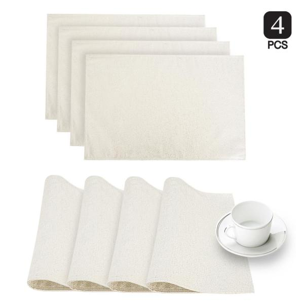 Dainty Home Little Rock White Glimmer Fabric Placemat (Set of 4)