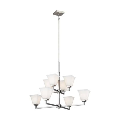 Ellis Harper 8-Light Brushed Nickel Chandelier with Etched White Glass Shades and LED Bulbs
