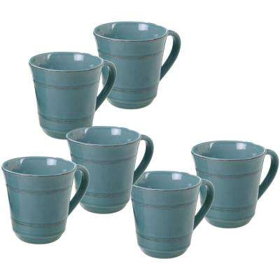 Orbit 6-Piece Teal 14 oz. Mug Set