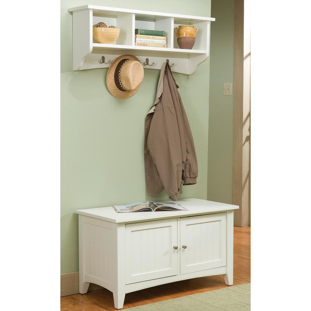 Alaterre Furniture Shaker Cottage Ivory Hall Tree With Storage