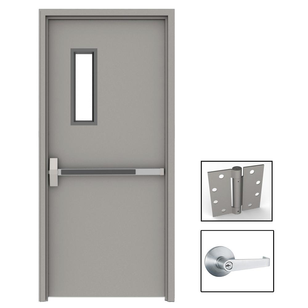 commercial steel entry doors. 36 in. x 84 gray flush exit with 5x20 vl right-hand commercial steel entry doors s