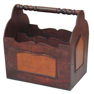 13.4 in. x 9.4 in. x 13.8 in. Handcrafted Decorative Wooden Magazine Rack with Handle