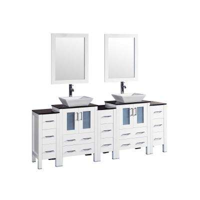 84 in. W Double Bath Vanity with Tempered Glass Vanity Top in Black White Basin and Mirror