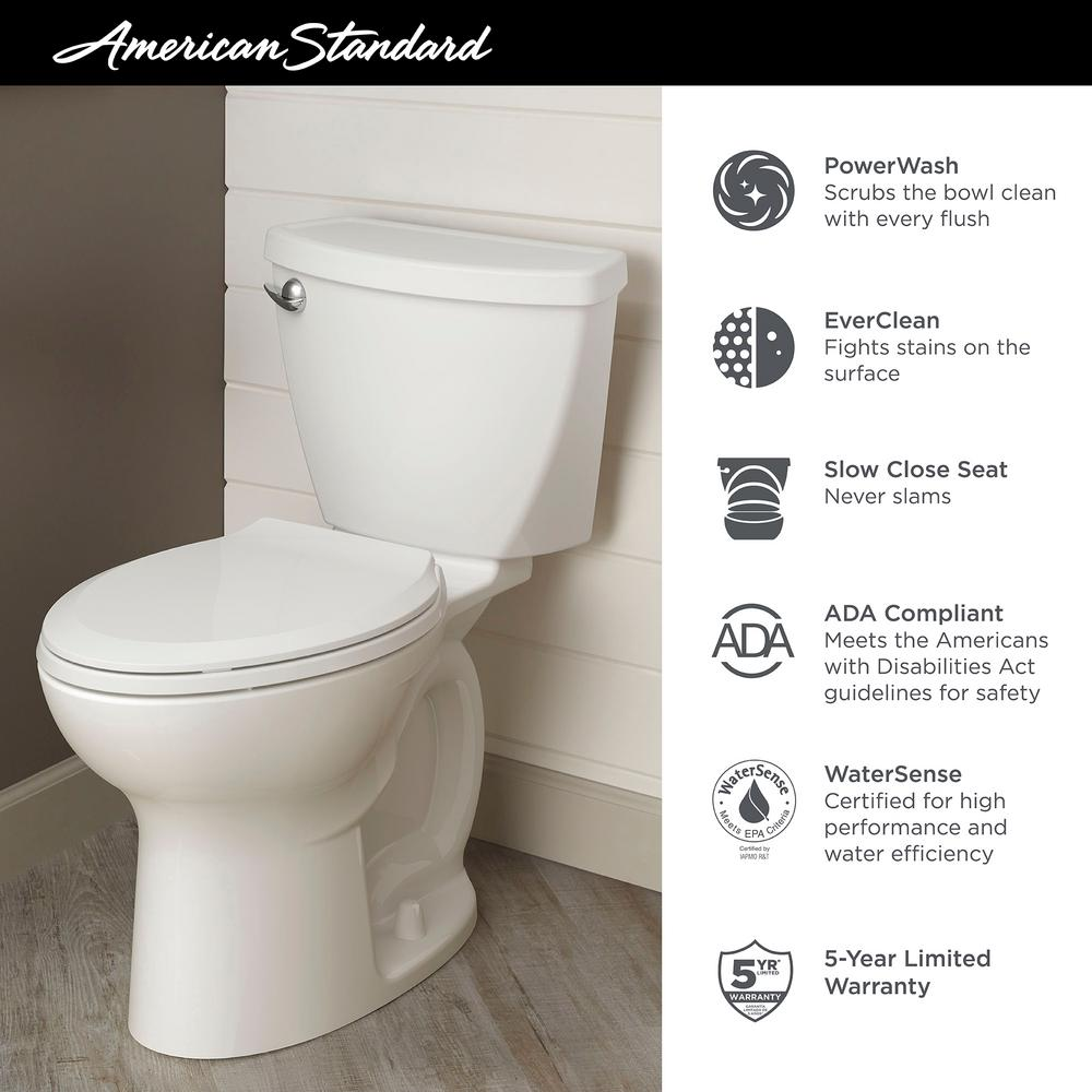 Admirable American Standard Cadet 3 Tall Height 10 In Rough In 2 Piece 1 28 Gpf Single Flush Elongated Toilet With Slow Close Seat In White Andrewgaddart Wooden Chair Designs For Living Room Andrewgaddartcom