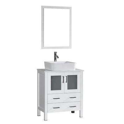 30 in. W Single Bath Vanity in White with Pheonix Stone Vanity Top with White Basin and Mirror