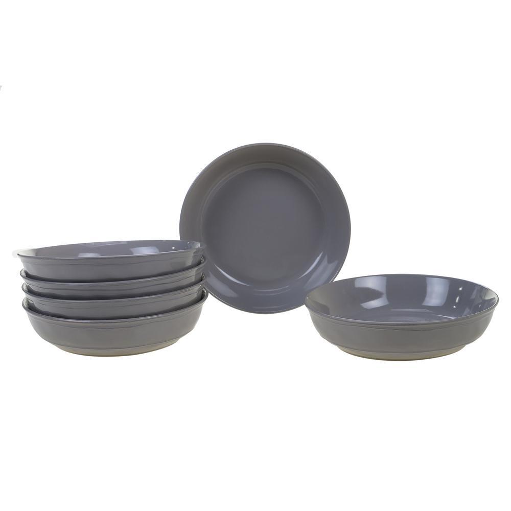 Orbit 6-Piece Grey 8.5 in. x 2 in. Soup Bowl Set