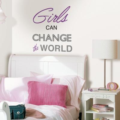 Purple Girls Can Change The World Wall Quote