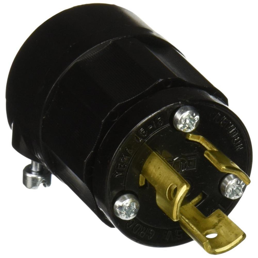 Leviton 15 Amp 125 Volt Locking Grounding Plug Black 4720 B The Cooper Wiring Devices 20amp 125volt Yellow 3wire