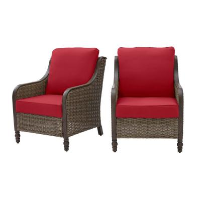 Windsor Brown Wicker Outdoor Patio Lounge Chair with CushionGuard Chili Red Cushions (2-Pack)