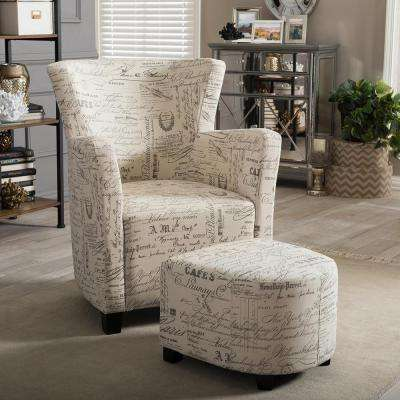 Benson Contemporary Beige Fabric Upholstered Accent Chair And Ottoman Set Part 88