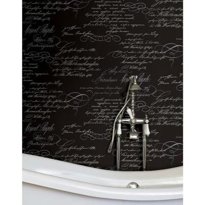 56.4 sq. ft. Ferdinand Black Poetic Script Wallpaper