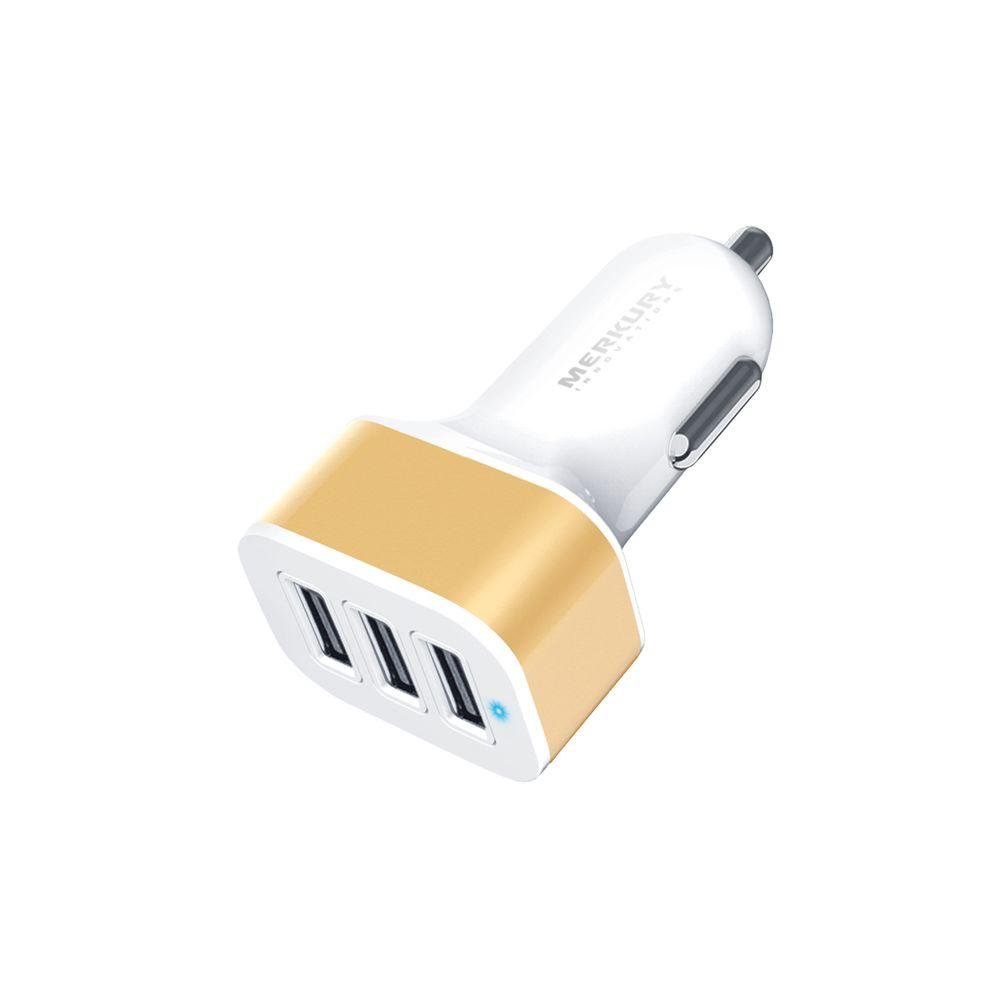3-Port 3.4 Amp USB Car Charger, Gold
