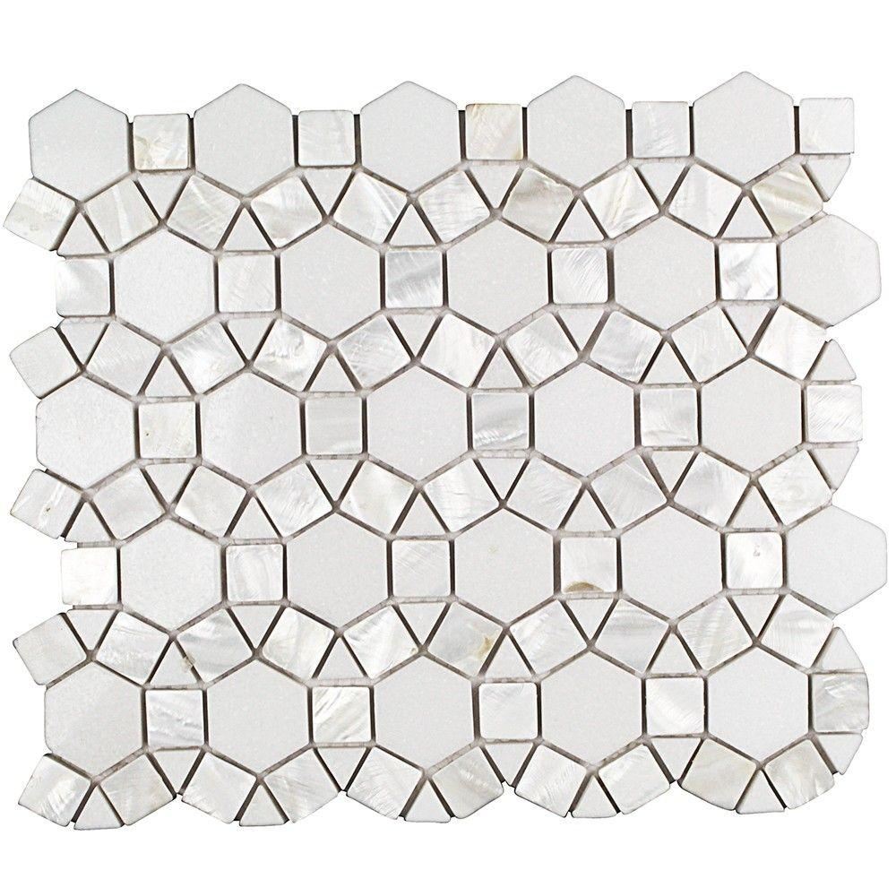 Ivy Hill Tile Noble White Thassos 9-3/4 in. x 12-1/4 in. x 10 mm Polished Pearl and Marble Mosaic Tile