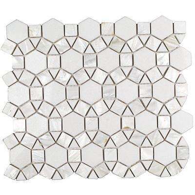 Noble White Thassos 9-3/4 in. x 12-1/4 in. x 10 mm Polished Pearl and Marble Mosaic Tile