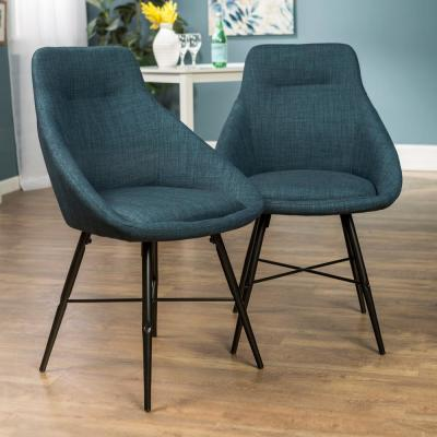 Mid Century Modern Upholstered Dining Chair, Set of 2 - Blue