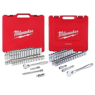 3/8 in. and 1/2 in. Drive SAE/Metric Ratchet and Socket Mechanics Tool Set (103-Piece)
