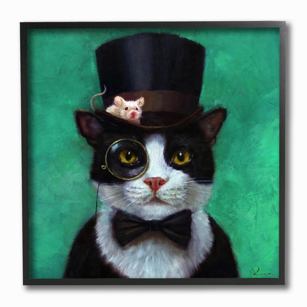 12 In X 12 In Good Sir Top Hat Cat With A Mouse And A Monocle Turquoise Painting By Lucia Heffernan Framed Wall Art