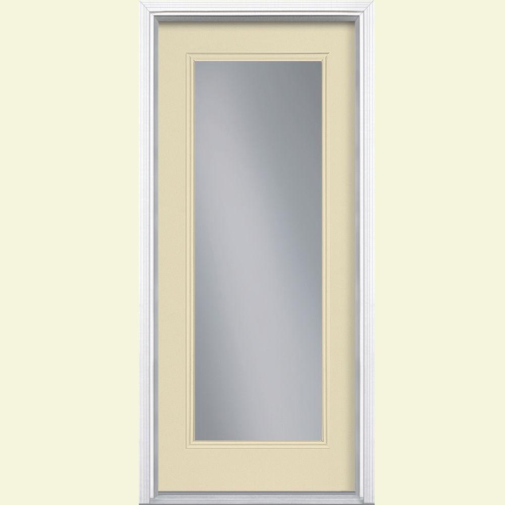 Masonite 32 in. x 80 in. Full Lite Golden Haystack Right-Hand Inswing Painted Smooth Fiberglass Prehung Front Door w/ Brickmold