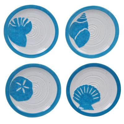 Natural Coast 4-Piece Country/Cottage Multi-Colored Ceramic 6 in. Canape Plate Set (Service for 4)