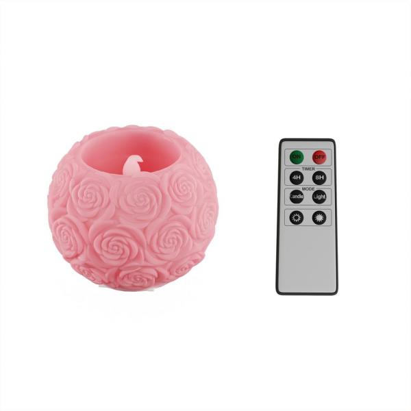 Lavish Home Rose Embossed Ball LED Flameless Candle with Remote Control