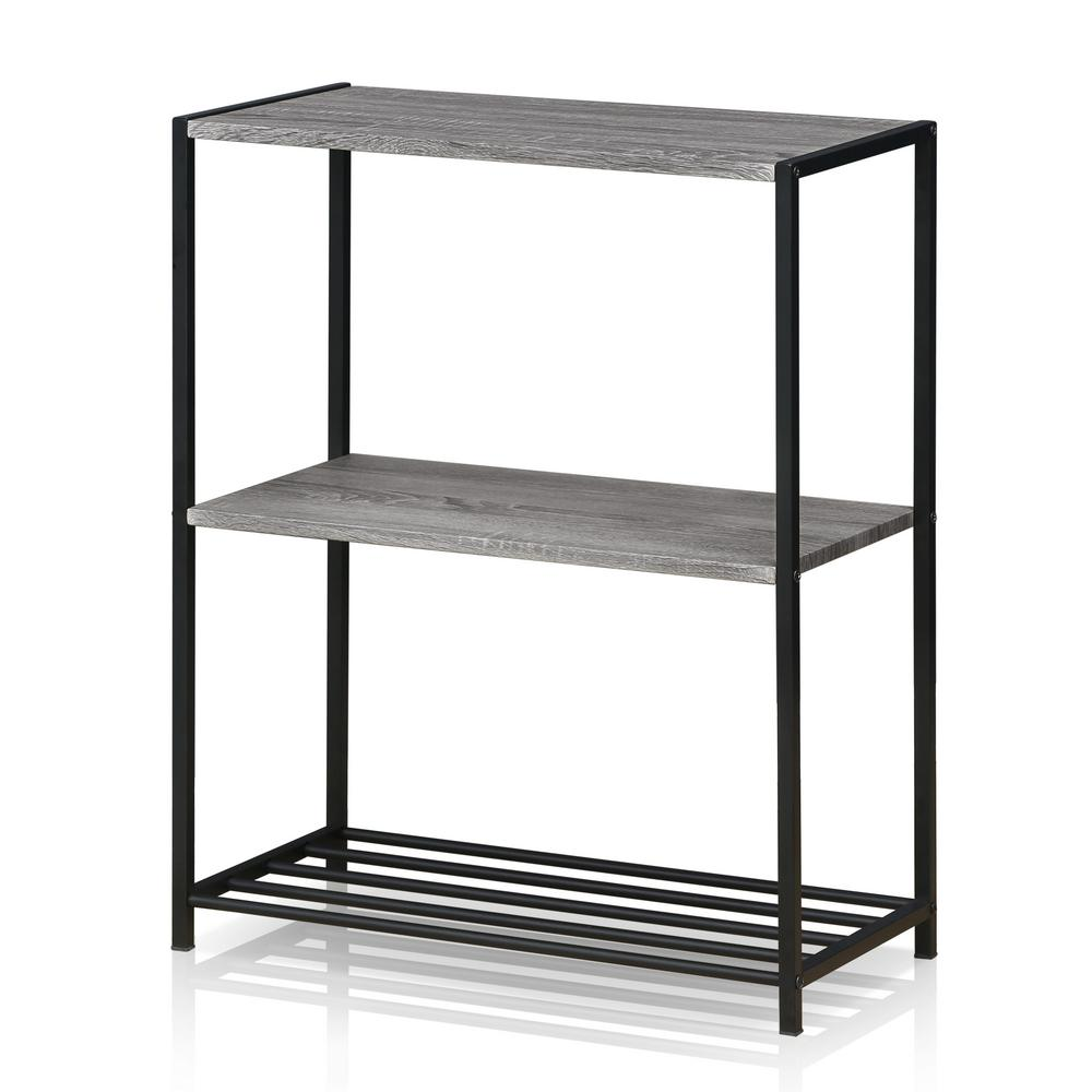 Furinno Modern French Oak Grey Metal 3-Tier Storage Shelves