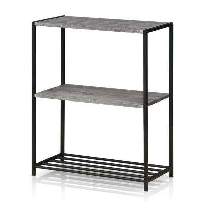 Modern French Oak Grey Metal 3-Tier Storage Shelves