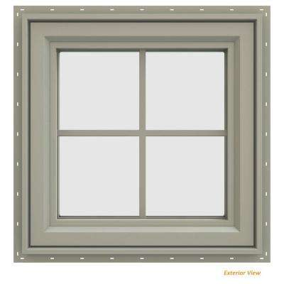23.5 in. x 23.5 in. V-4500 Series Desert Sand Vinyl Left-Handed Casement Window with Colonial Grids/Grilles