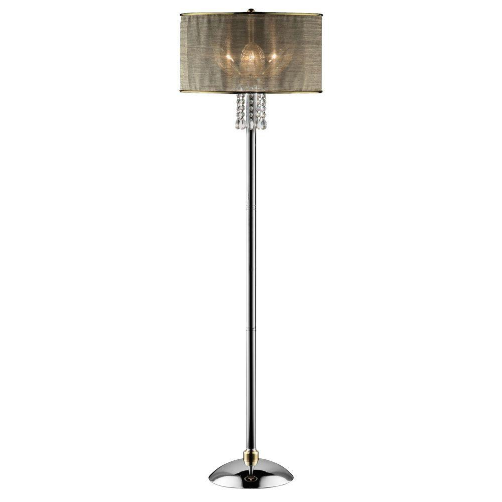 OK LIGHTING 61 in. Silver Leaf Crystal Floor Lamp