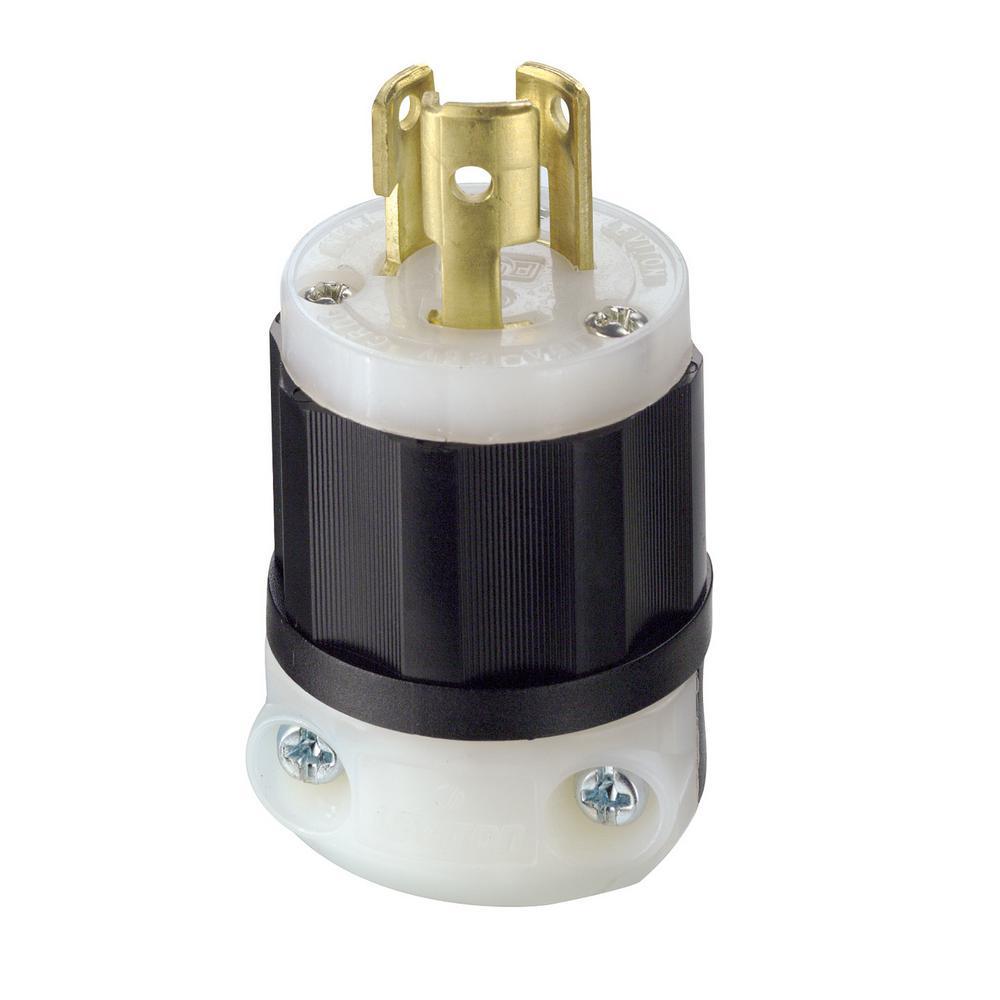 Straight Blade 125 Volt Grounding Plug Leviton 5266-C 15 Amp Industrial Grade Black-White 1 Pack