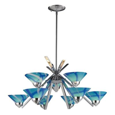 Refraction 9-Light Polished Chrome Ceiling Mount Chandelier