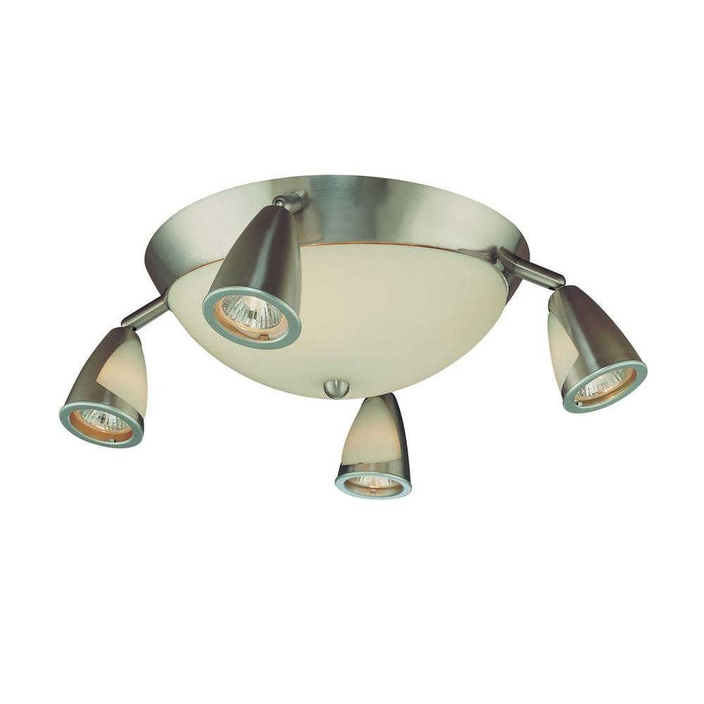 Hampton Bay 5 Light Brushed Steel Semi Flush Mount Ceiling Track Lighting Fixture