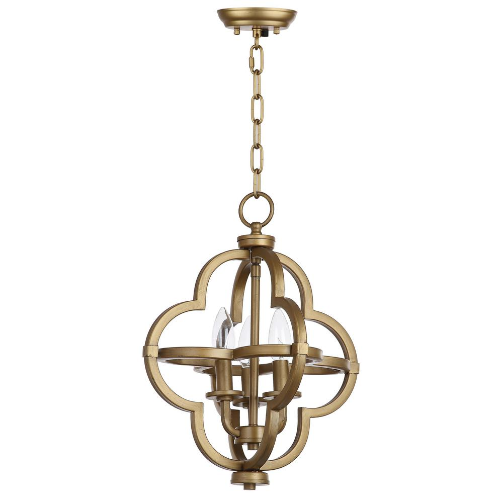 Mila 3 Light Gold Pendant by Safavieh