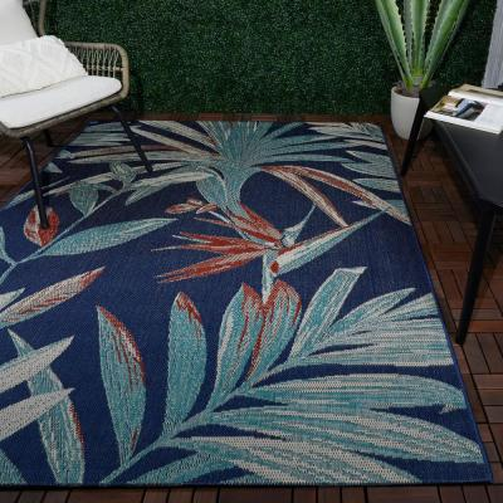 Palm Blue 8 ft. x 10 ft. Argyle Indoor/Outdoor Area Rug
