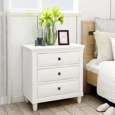 3-Drawers White Wickes Nightstand