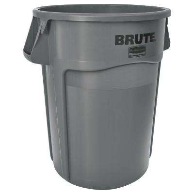 Grey Round Vented Trash Can